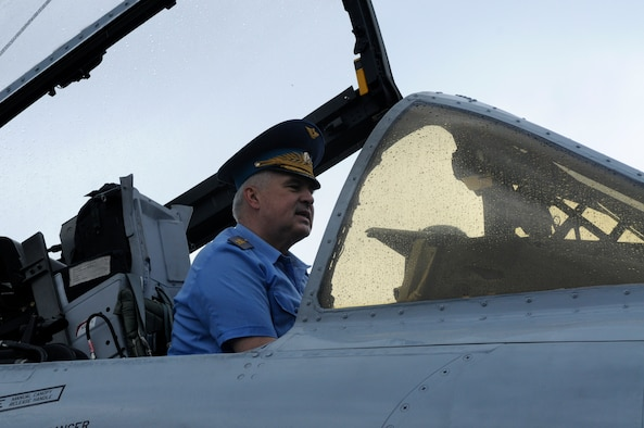 ZHUKOVSKY AIR FIELD, Russia – Gen.-Col. Alexander Nikolayevich Zelin, Russian air force commander-in-chief, sits in the cockpit of an 81st Fighter Squadron A-10 Thunderbolt II from Spangdahlem Air Base, Germany, during his visit to the U.S. chorale  at the Moscow International Aviation and Space Salon, or MAKS 2011, here Aug. 20. MAKS is one of the premier events of its type in the world and Department of Defense participation demonstrates the United States commitment to international security, promotes international cooperation, and contributes to U.S. foreign policy objectives.  The U.S. Air Force has a KC-10 Extender, two F-16C Fighting Falcons, two A-10 Thunderbolt II, one F-15E Strike Eagle, one B-52 Stratotanker, C-130J Super Hercules, C-5M Galaxy, and a U.S. Navy P-3 Orion statics for the show. (U.S. Air Force photo/Master Sgt. Kelley J. Stewart)