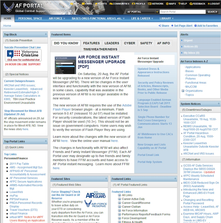 Web Savvy - Effectively using Air Force Portal > Joint Base