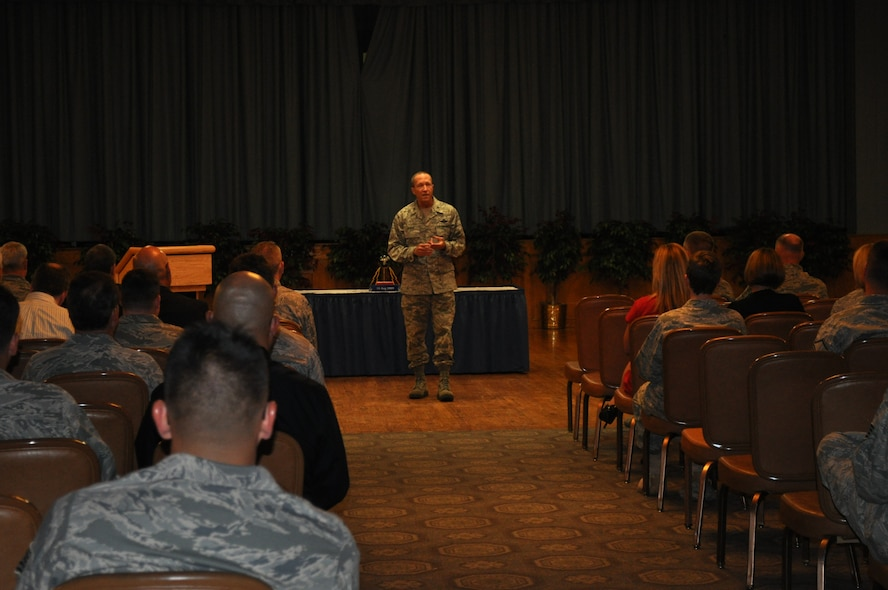 Brig. Gen. Paul Ayers, Air National Guard assistant to the commander, 24th Air Force, speaks to about 150 members of 24th Air Force and the 624th Operations Center, about the occasion of the command's second anniversary, Aug. 18. Personnel gathered to commemorate the accomplishments of the past two years, and to look ahead to growth in the areas of capability, capacity and collaboration. (U.S. Air Force photo by Christine D. Millette)