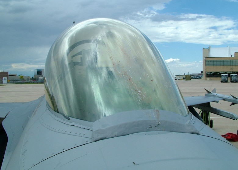 The canopy of a Colorado Air National Guard F-16 displays the remains of a Swainson Hawk that collided with it earlier this year.  The 460th Space Wing and the 140th Wing are aggressively working to reduce the chances of aircraft-bird strikes at Buckley Air Force Base through its Bird Aircraft Strike Hazards (BASH) program.