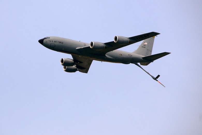 A KC-135 Stratotanker flies past the crowd at the 2011 Selfridge Air Show and Open House at Selfridge Air National Guard Base, Mich., Aug 20, 2011. The KC-135 is part of the 127th Air Refueling Group at Selfridge. (USAF photo by TSgt. David Kujawa)