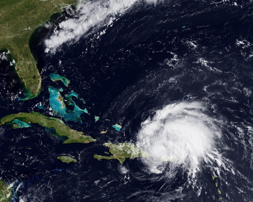 Hurricane eyes U.S. coastline  Irene became the first hurricane of the 2011 Atlantic season this weekend. The storm, with 80 mph sustained winds, passed over Puerto Rico on Sunday, and is now on a path towards the Bahamas and Florida coastline. A ridge of high pressure to the north of the storm, around Bermuda, should stay in place over the next few days, forcing the storm along a west-northwest path. This image from the GOES-East satellite shows the storm on August 22, 2011 at 1345z.