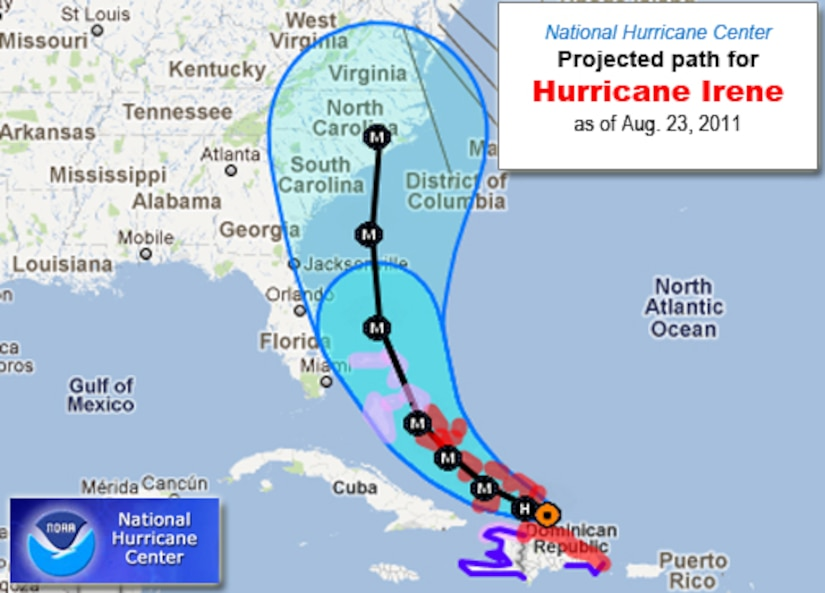 According to the latest National Hurricane Center data, Hurricane Irene could still impact our area.  Are your prepared for this one, and future storms? (NOAA MAP