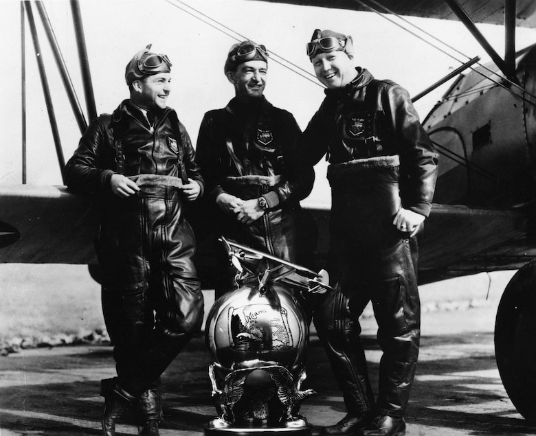 Men on the Flying Trapeze, an Army flight demonstration team organized by then-Capt. Claire Chennault in 1932, at one time included two enlisted pilots who continued to serve after their release from active duty as reserve officers. From left are Sgt. William C. McDonald, Capt. Chennault and Sgt. John H. Williamson. Later, each helped train China's air force prior to World War II. SSgt. Ray Clinton also flew solo stunt and backup for the team. (U.S. Air Force photo)
