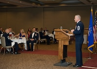 Chief Master Sgt. Brooke McLean, Pacific Air Force command chief, speaks at the graduation of the Advanced Maintenance Superintendent Course,  class 11B, on Aug. 19, 2011, at The Club, on Nellis Air Force Base, Nev. (U.S Air Force photo by Senior Airman Stephanie Rubi/Released)