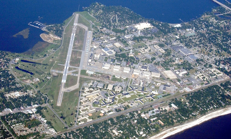 Aerial view of Keesler, 2002.  (Photo courtesy of 81st Training Wing History Office)