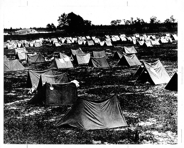 Tent quarters in the former Naval Reserve Park, 1941.  (Photo courtesy of 81st Training Wing History Office)