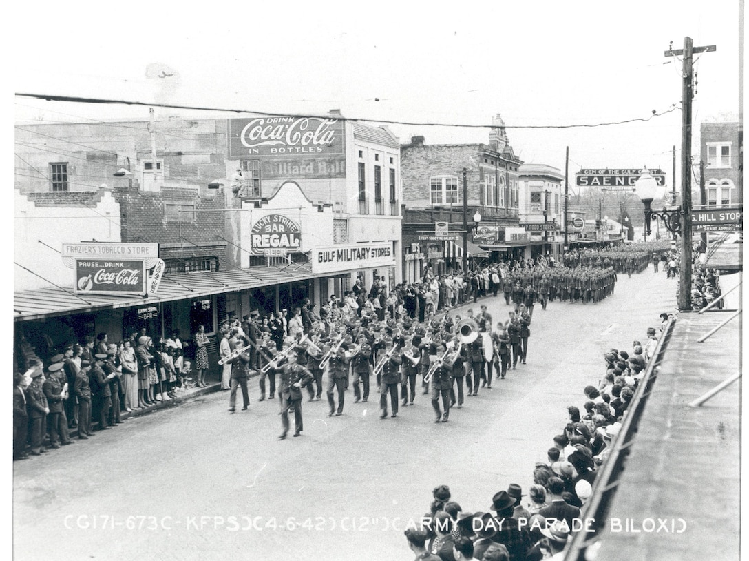 Parade marches down the streets of old downtown Biloxi, 1942.  (Photo courtesy of 81st Training Wing History Office)