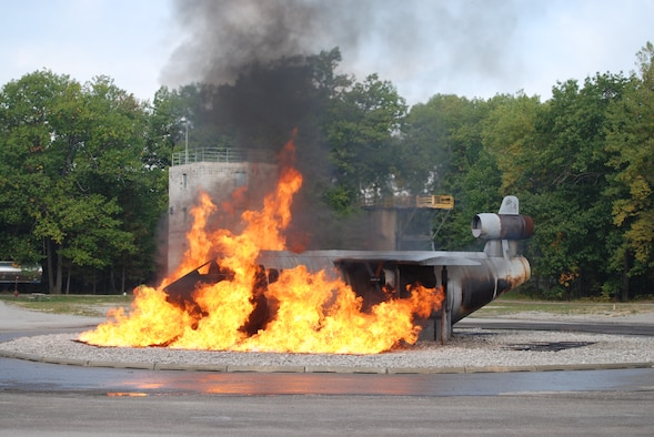 The Alpena CRTC boasts a multitude of fire fighter training aids including our Aircraft Fire Training Simulator.  The aircraft mock-up is used to train fire fighters in actual hands-on, live fire in aircraft emergencies.  Using environmentally friendly Liquefied Propane Gas (LPG) in a liquid and vapor state, fire fighters can practice extracting occupants from aircraft.