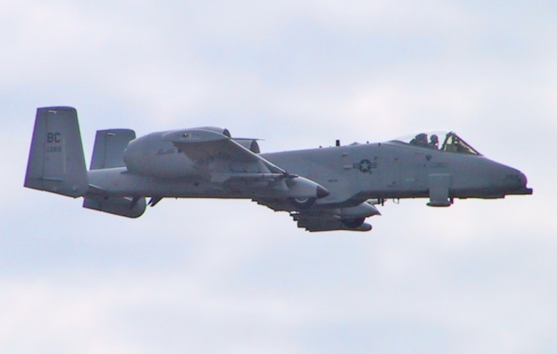 An A-10 Bomber flies over Grayling Air Gunnery Range as he prepares to complete a bombing mission.