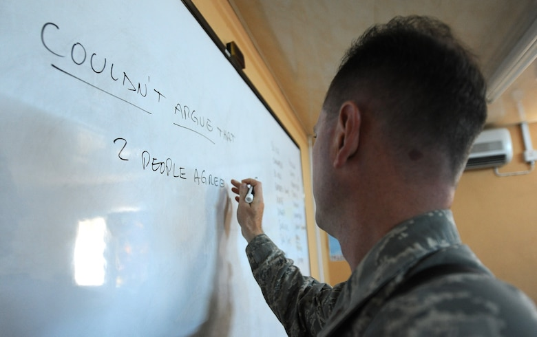 Maj. Mark Gray, 321st Air Expeditionary Advisory Group director of maintenance, helps teach the English language two hours a day, four days a week to the Iraqi maintainers at Kirkuk Air Base, Iraq. (U.S. Air Force photo by Senior Airman Tristin English)