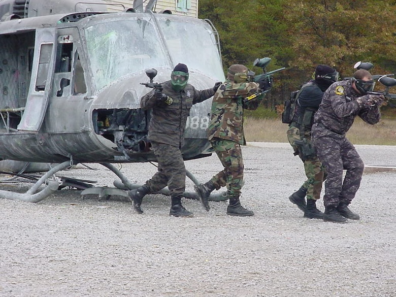 Students participate in security forces training at the Alpena CRTC.