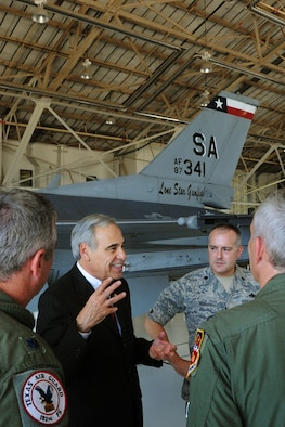 U.S. Rep. Charlie Gonzalez (TX-20) of San Antonio visits members of the Texas Air National Guard?s 149th Fighter Wing at Lackland AFB, Texas, August 18, 2011. (Air National Guard Photo by SSgt Phil Fountain/Released)