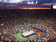 NEW YORK -- Marines presented the American Flag during the opening ceremony at the US Open Tournament in Arthur Ashe Stadium, Aug. 29. The Marines from 6th Communications Battalion, 4th Marine Logistics Group, Marine Forces Reserve are stationed in Floyd Bennett Field, Brooklyn, New York and unfurl the flag annually for the last tennis major of the year for the Grand Slam. Novak Djokovic and Caroline Wozniacki entered the tournament as the top ranked male and female player. Play was delayed two hours as crews finished clearing debris Hurricane Irene left in its wake along the previous day. (Official Marine Corps photo by John Manley / RELEASED)