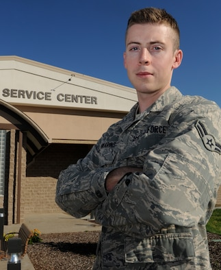 MOUNTAIN HOME AIR FORCE BASE, Idaho – Airman 1st Class Phillip Manwaring serves as a 366th Contracting Squadron contracting specialist, contract administrator, and was selected as the squadron's Warrior of the Week. (U.S. Air Force photo by Senior Airman Angelina Drake)