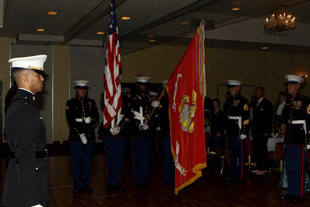 The U.S. Marine Corps Color Guard with Combat Logistics Battalion 31, 31st Marine Expeditionary Unit presents the colors to the Commanding Officer and the Guest of Honor during the Marine Corps' 236th birthday at the Butler Officers Club, Plaza Housing, Okinawa, Japan on December 1, 2011. The Marine Corps Birthday Ball is an annual tradition celebrated throughout the entire Marine Corps. The 31st MEU is the only continually forward-deployed MEU, and remains the United States' force in readiness in the Asia-Pacific region.