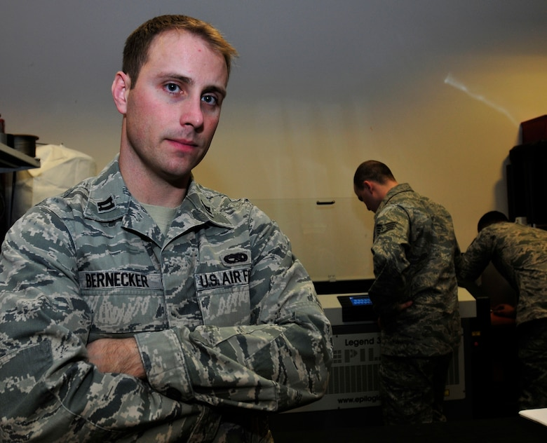 ROYAL AIR FORCE LAKENHEATH, England – Capt. William Bernecker, former 48th Aircraft Maintenance Squadron Officer in Charge, was recently awarded the Gen. Lew Allen Jr. Trophy by U.S. Air Force Chief of Staff Gen. Norton Schwartz. The trophy is awarded annually to a base-level officer and senior non-commissioned officer in the aircraft, missile and maintenance fields directly involved in sortie generation. (U.S. Air Force photo by Senior Airman Tiffany M. Deuel)