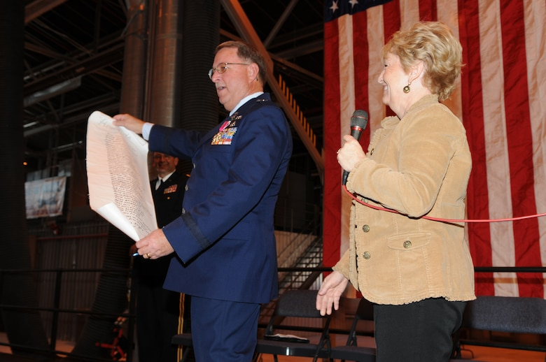 """Brig. Gen. Wayne E. Lee, Assistant Adjutant General for Air, retired December 3 following a Change of Command ceremony for the Utah Air National Guard State Headquarters.  His wife, Tweet, concluded the ceremony by giving him a new mission """"Code Name:  Honey-do."""" (U.S. Air Force photo by Tech. Sgt. Kelly K. Collett)(RELEASED)"""