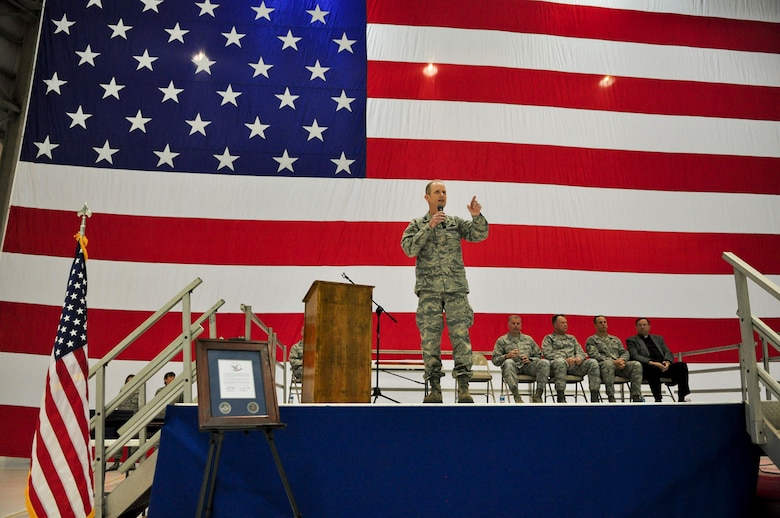 """Maj. Gen. Donald P. Dunbar, Wisconsin's adjutant general, offers remarks to more than 100 Airmen during a Hometown Heroes Salute Campaign at the 128th Air Refueling Wing, Milwaukee, on Sunday, December 4, 2011.  Gen. Dunbar told the gathered crowd of locally stationed Airmen, family members, and recipient Airmen of the 128th Air Refueling Wing that """"the greatest Air Force on the planet cannot do what it does without the Air National Guard.""""  The Hometown Heroes Salute Campaign is an Air National Guard event that recognizes Airmen who have deployed overseas for more than 30 days.  Air National Guard photo by Tech. Sgt. Tom Sobczyk."""