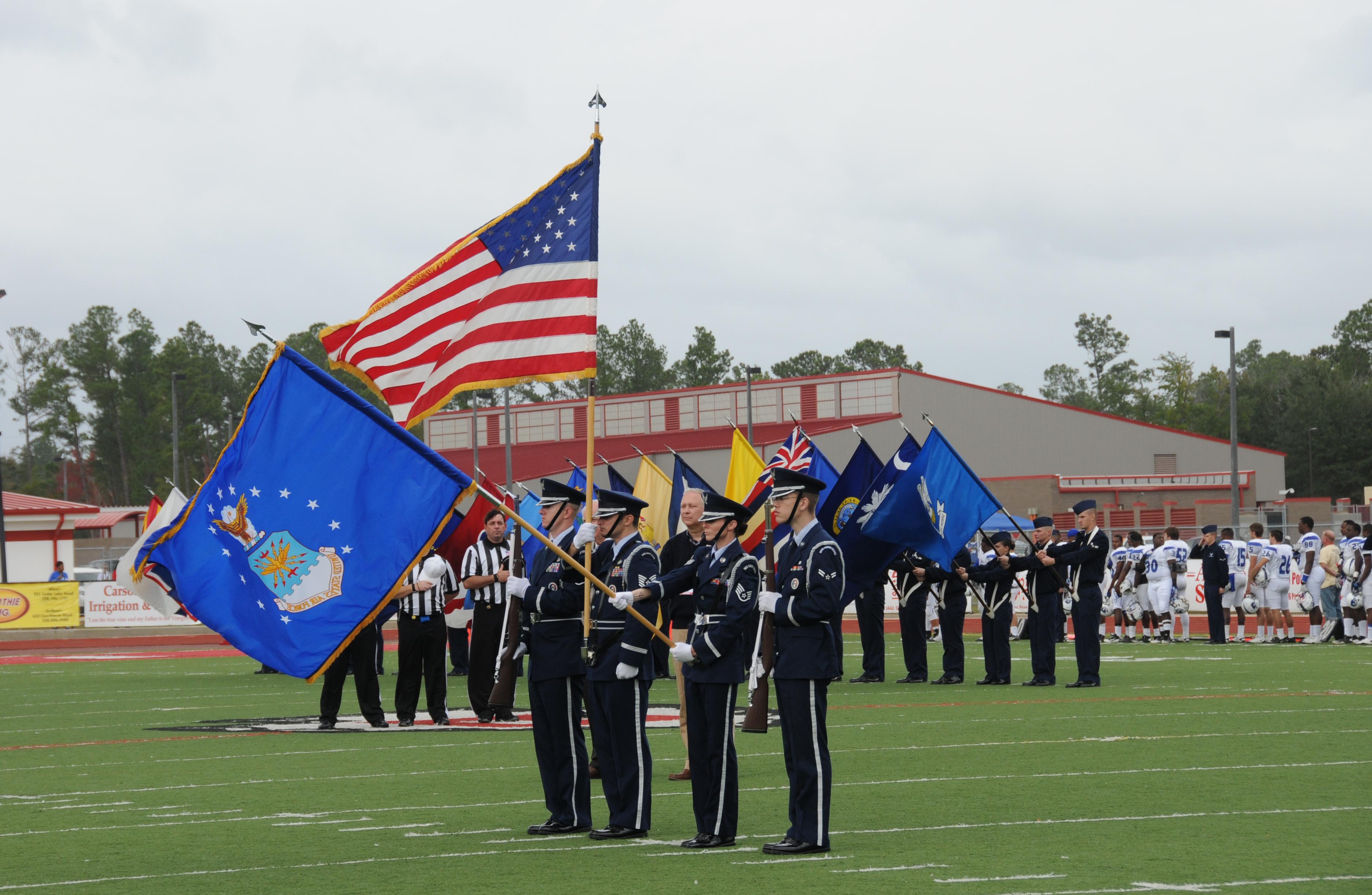 Flag team, honor guard at Mississippi Bowl