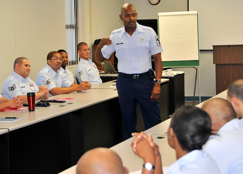 Chief Master Sgt. Cameron Kirksey, Command Chief for the 482nd Fighter Wing, addresses the Noncommissioned Officer Leadership Development Course at Homestead Air Reserve Base, Jan. 5. The objective of the course is to heighten the students' awareness of the dybnamics of supervision and leadership in the workplace. (US Air Force Photo/ Tech. Sgt. Ian Carrier)