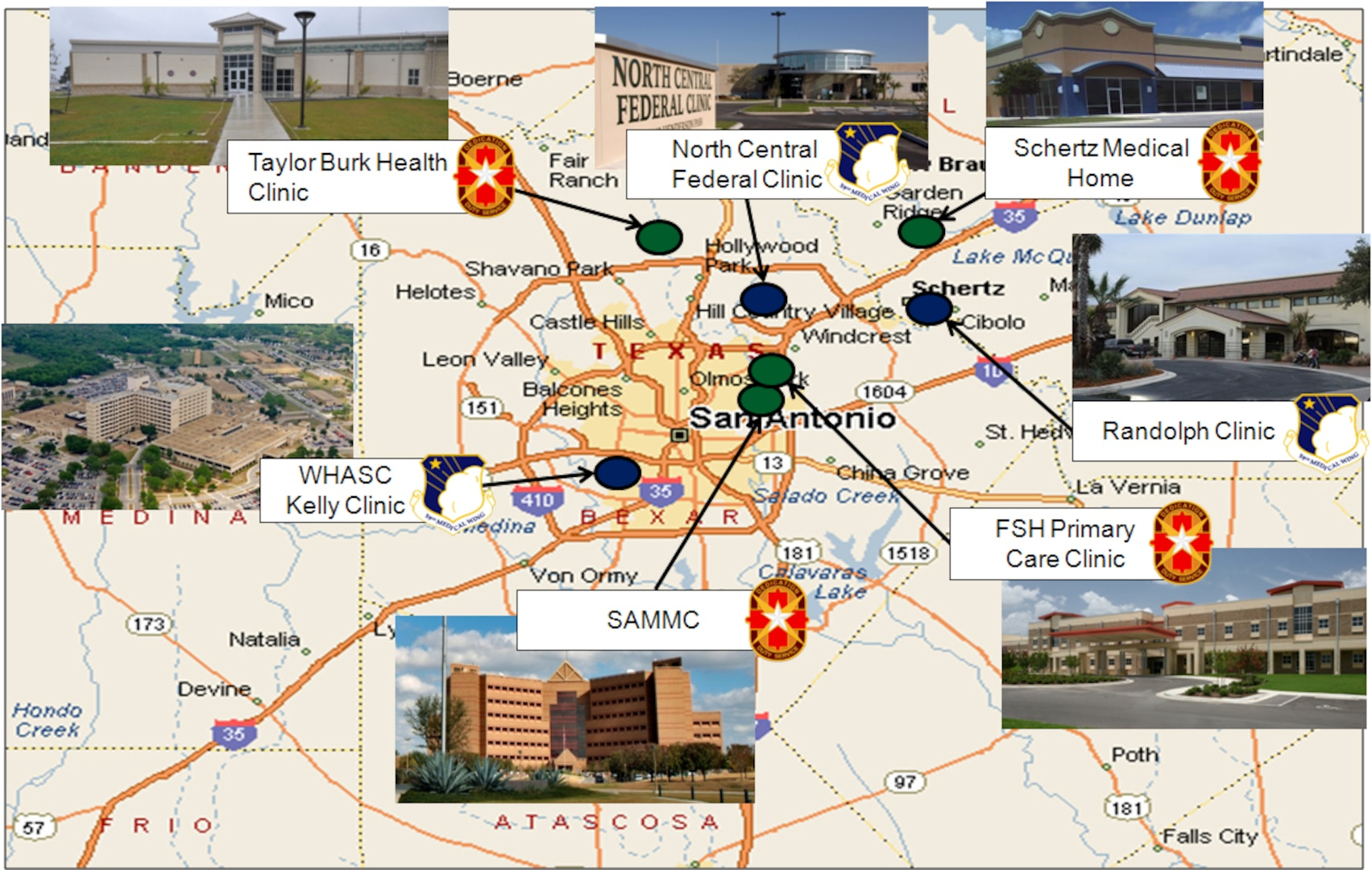 The San Antonio Military Health System provides oversight of all military health services within the San Antonio area. SAMHS includes over 9,000 healthcare workers in 10 facilities, supporting over 230,000 beneficiaries, and providing over 100 specialty services with over a $1 billion economic impact to the San Antonio community. (U.S. Air Force illustration)