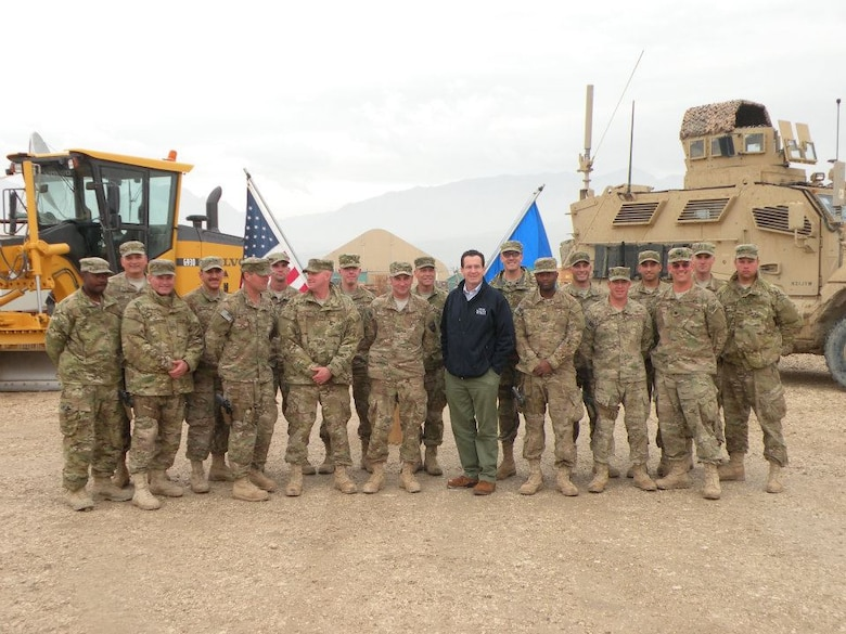 Connecticut Governor Dannel P. Malloy poses with Airmen from the 103rd Civil Engineer Squadron overseas during his visit to Afghanistan on November 17, 2011. (Photo courtesy of Master Sgt. Robert K. Armstrong)