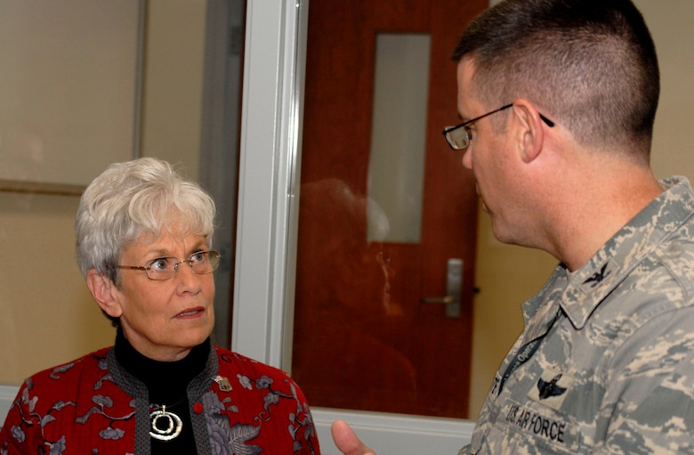 Connecticut Lieutenant Governor Nancy Wyman talks with Col. Peter DePatie, commander of the 103rd Air Operations Group, during a tour following a ribbon cutting ceremony for the group's new operations facility at Bradley Air National Guard Base, East Granby, Conn., Dec. 3, 2011. (U.S. Air Force photo by Tech. Sgt. Tedd Andrews)