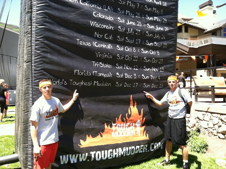 Senior Airman Sam Bessinger, 50th Space Communications Squadron (left) and his brother Hank Bessinger (right), set their sights on the World's Toughest Mudder challenge after finishing the Colorado Tough Mudder in the top five percent. (courtesy photo)