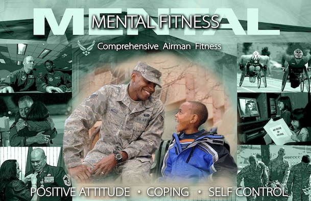 Air Force Space Command Comprehensive Airman Fitness mental fitness poster. (U.S. Air Force graphic by Tamara Wright)