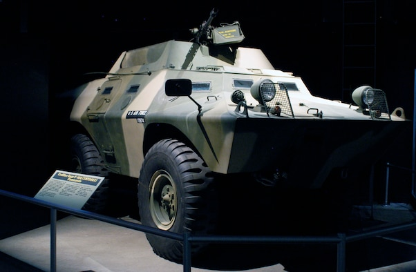 "The Cadillac Gage V-100XM 706E2 ""Commando"" Armored Personnel Carrier was originally designed for convoy escort, reconnaissance or police riot control. The V-100, designated XM 706E2 by the USAF, was employed by Air Force personnel for base perimeter defense during the war in Southeast Asia. (U.S. Air Force photo)"