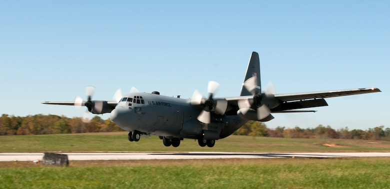 A Kentucky Air National Guard C-130 touches down at Fort Knox, Ky., during the 165th Airlift Squadron's first-annual Air Derby, held Oct. 22, 2011. The contest scored aircrews in multiple areas, including threat and airspace avoidance, airdrop accuracy and assault landing accuracy. (U.S. Air Force photo by Master Sgt. Phil Speck)
