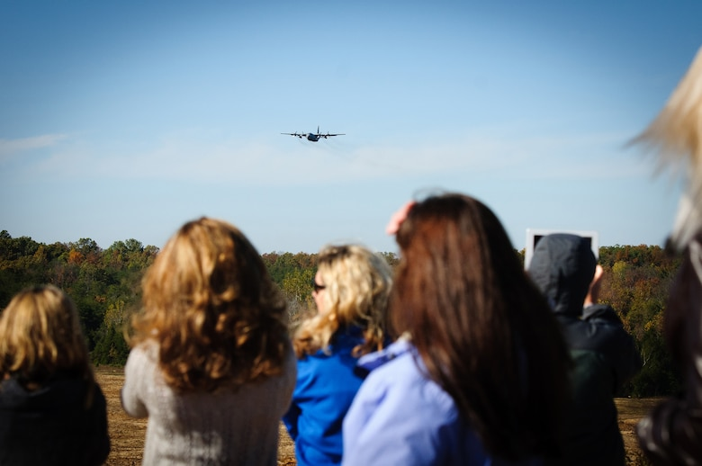 A C-130, piloted by aircrew members of the Kentucky Air National Guard's 165th Airlift Squadron, approaches a drop zone at Fort Knox, Ky., during the unit's first-annual Air Derby competition Oct. 22, 2011. Family members of the Airmen were in attendance to witness the friendly competition. (U.S. Air Force photo by Senior Airman Maxwell Rechel)