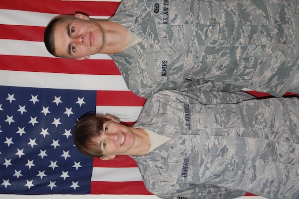 Staff Sgt. Bonnie Demers and her son, Senior Airman Thomas Demers joined the NHANG together in 2008.
