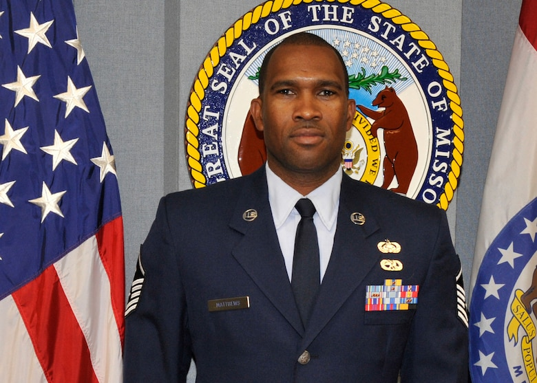 Master Sgt. Sheldon Matthews, is the 2012 Missouri Air National Guard Outstanding First Sergeant of the Year. He serves as First Sergeant for the 239th Combat Communications Squadron, based at Lambert-St. Louis International Airport. (Air National Guard photo)