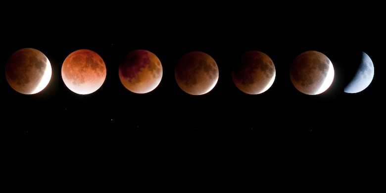 YOKOTA AIR BASE, Japan -- A red shadow crosses the moon during the final lunar eclipse of 2011, as seen from Yokota Air Base, Japan, Dec. 10, 2011. The eclipse lasted 51 minutes and eight seconds. (U.S. Air Force photo illustration/Osakabe Yasuo)