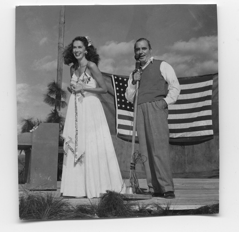 Jinx Falkenburg and Pat O'Brien, co-leaders of USO tour to the CBI, late 1944. Based on multiple sources, this picture appears to have been taken in Chanyi, China, site of the 35th PRS headquarters.
