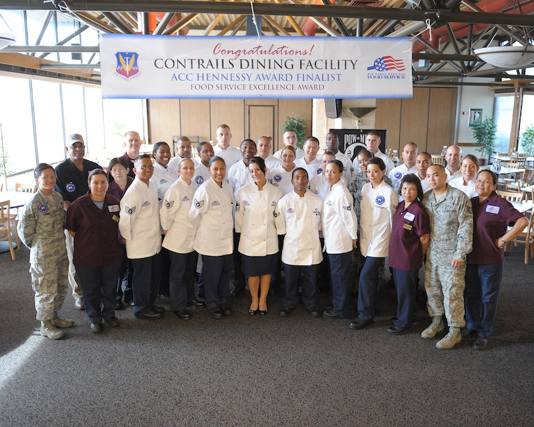 The Contrails Inn Dining Facility staff won the Hennessy Award at the Air Combat Command level for 2011. The Hennessy Award promotes food service excellence in all areas of dining facility operations. (U.S. Air Force photo by John Schwab/Released)