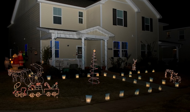 Barksdale Homes Shine Brightly With Christmas Decorations On Barksdale Air  Force Base, La.,