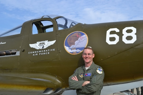 Lt. Col. Roger Suro, 39th Flying Training Squadron commander, poses in front of a P-39, the airframe assigned to the unit while it conducted antisubmarine patrols along the West Coast in the days and weeks following the attack on Pearl Harbor.  As a reserve associate unit to the 12th Flying Training Wing, the now 39th FTS was moved to Randolph AFB, Texas in September 2007 and trains instructor pilots.(Courtesy Photo)