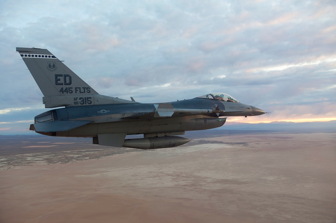 Maj. Robert Ungerman, 416th Flight Test Squadron, on approach at Edwards AFB, CA.  December 20. (U.S. Air Force Photo by Christian Turner)