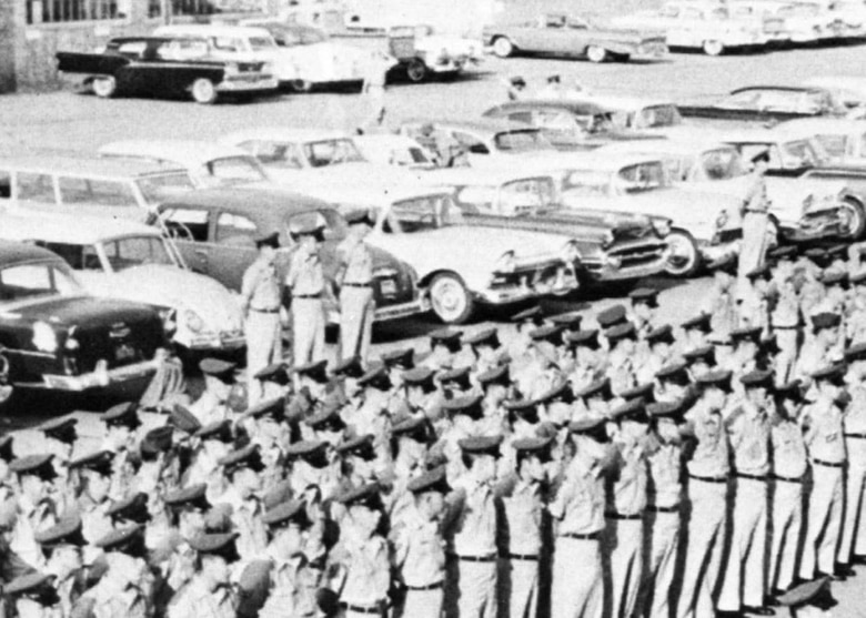 Members of the 131st Fighter -Bomber Wing, Missouri Air National Guard, stand in formation at Lambert Air National Guard base-Saint Louis, while the orders of activation to France are read, Oct. 1, 1961.  (Photo by 131st Bomb Wing)