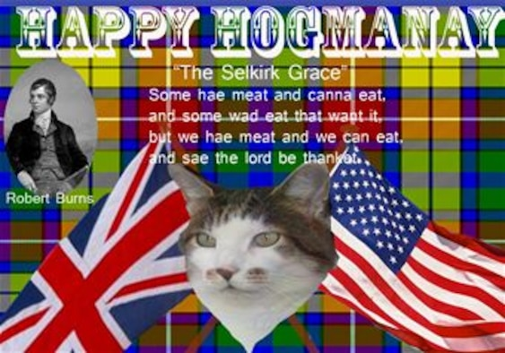 Happy Hogmanay! Hogmanay is a Scottish celebration held every New Year's Eve. Celebrations start in the early evening and minutes before the New Year, a lone piper plays, then the bells of Big Ben chime at midnight; afterwards, everyone joins hands and sings 'Auld Lang Syne'