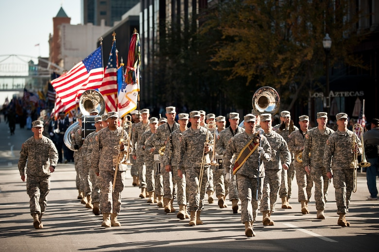 The 113th Army Band marches down Main Street in Louisville, Ky., on Nov. 11, 2011, during the city's Veterans Day Parade. The band is based at Fort Knox, Ky. (U.S. Air Force photo by Maj. Dale Greer)