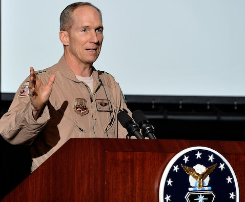 Air Forces Central Commander Lt. Gen. Mike Hostage speaks with Air Force Academy cadets in the Arnold Hall Theater Jan. 25, 2011. During his visit to the Academy, General Hostage showcased how lieutenants are contributing to allied efforts in Afghanistan and Iraq and stressed the importance of a disciplined, professional corps of aviators. (U.S. Air Force photo/Bill Evans)