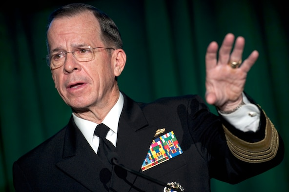 """Navy Adm. Mike Mullen, the chairman of the Joint Chiefs of Staff, called President Barack Obama's """"Strengthening Our Military Families"""" initiative tremendous during the chairman's worldwide podcast to service members Jan. 31, 2011. (Defense Department photo/Petty Officer 1st Class Chad J. McNeeley)"""
