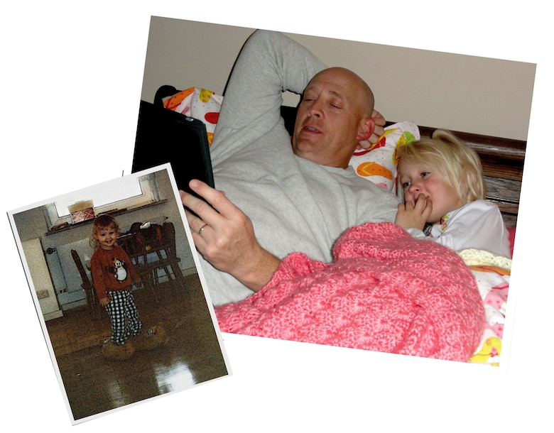 Mike Strickler, the Public Affairs director at Edwards Air Force Base, Calif., and his granddaughter, Zoe, read a bedtime story last December. Twenty-five years prior, his daughter Stephanie (below left) and son Michael motivated him to earn his first Community College of the Air Force degree. (Courtesy photos)