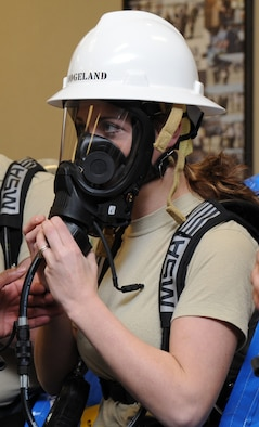 Senior Airman Tiffany Hogeland, 118th AW Civil Engineering, checks the fit of her oxygen mask before suiting up to test an unknown substance during the all hazard response training at Berry Field Air National Guard Base Jan. 26.
