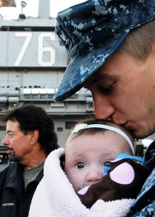 u s department of > photos > photo essays > essay view u s navy petty officer 3rd class daniel rawson kisses his daughter giana lee rawson before saying