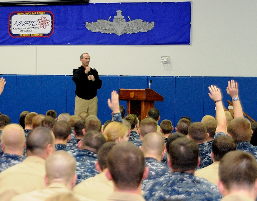 VIce Chief of Naval Operations Adm. Jonathan Greenert answers questions during an all-hands call at Naval Nuclear Power Training Command on board Joint Base Charleston-Weapons Station, Feb. 2. Admiral Greenert addressed Sailors about fleet-wide pressing issues concerning the nuclear field and stressed the importance of Sailors utilizing family support programs for themselves and their loved ones. (U.S. Navy photo/Mass Communication Specialist 1st Class Jennifer Hudson